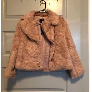 Boutique Blush Faux Fur Coat- NWT- Size S